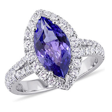 2.25 CT. Marquise-Cut Tanzanite and 0.93 CT. Diamond Halo Ring in 18K White Gold