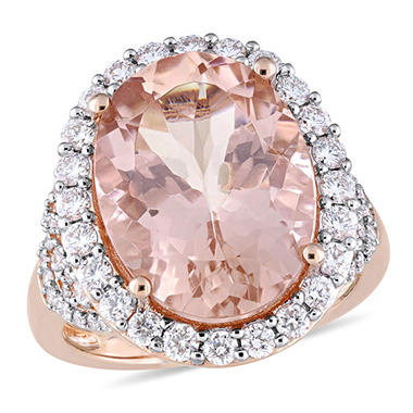 Allura 9.7 CT. Oval-Cut Morganite and 1.41 CT. Diamond Halo Ring in 14K Rose Gold
