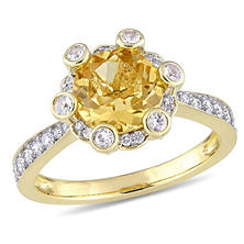 1.9 CT. Citrine and White Sapphire with 0.51 CT. Diamond Halo Ring in 14K Yellow Gold