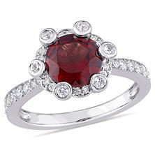 2.18 CT. Garnet and White Sapphire with 0.51 CT. Diamond Halo Ring in 14K White Gold