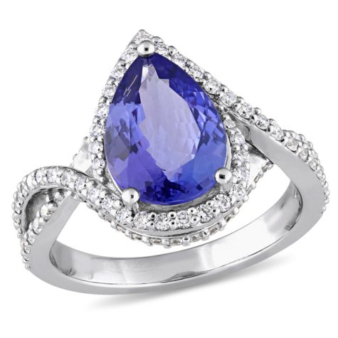 Allura 2.57 CT. Pear-Cut Tanzanite and 0.63 CT. Diamond Bypass Halo Ring in 14K White Gold