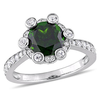 2.43 CT. Chrome Diopside and White Sapphire with 0.51 CT. Diamond Halo Ring in 14K White Gold