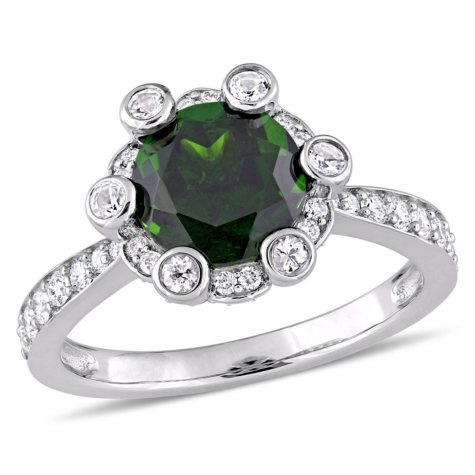 Allura 2.43 CT. Chrome Diopside and White Sapphire with 0.51 CT. Diamond Halo Ring in 14K White Gold