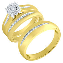 halo framed diamond trio wedding ring set in 14k yellow gold - Gold Wedding Ring Sets