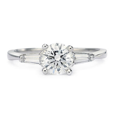 Premier Diamond Collection 1.29 CT. T.W. Round Brilliant Diamond Ring with Tapered Baguettes in 14K White Gold - IGI (H, SI2)
