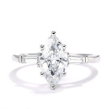 Premier Diamond Collection 1.81 CT. T.W. Marquise Cut Diamond Ring with Tapered Baguettes in 18K White Gold - IGI (E, SI1)