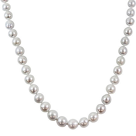 Allura 9-11mm White South Sea Pearl Strand Necklace with 14K Yellow Gold Clasp