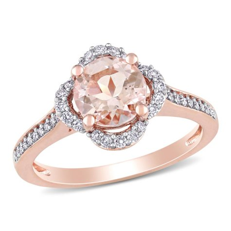 1.17 CT. Morganite and Diamond Accent Quatrefoil Halo Ring in 14K Rose Gold