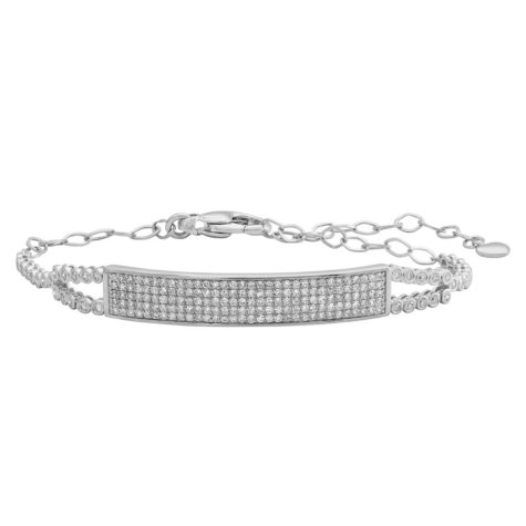 S Collection 1.25 CT. T.W. Pavé Bar Bracelet in 14K White Gold