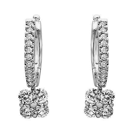 S Collection 1 CT. T.W. Diamond Drop Earrings in 14K White Gold