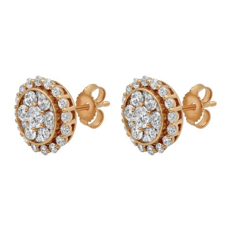 S Collection 1.5 CT. T.W. Rose Gold Stud Earrings in 14K Rose Gold