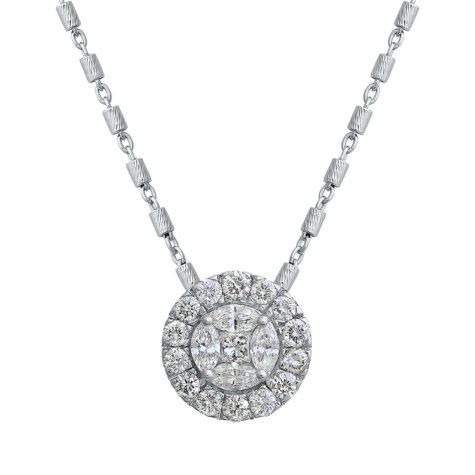 S Collection 1 CT. T.W. Classic Composite Diamond Pendant in 14K White Gold