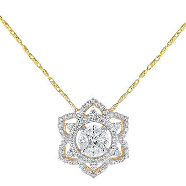 S Collection 0 73 Ct T W Diamond Flower Petal Pendant In 14k Yellow Gold