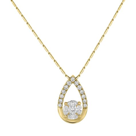 S Collection 0.45 CT. T.W. Teardrop Pendant in 14K Yellow Gold