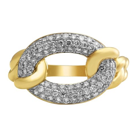 S Collection 0.75 CT. T.W. Pavé Oval Chain Link Ring in 14K Yellow Gold