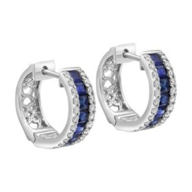 S Collection Blue Sapphire and Diamond Huggie Hoop Earrings in 14K White Gold