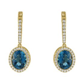 S Collection 3.9 CT. T.W. London Blue Topaz Oval Drop Earrings in 14K Yellow Gold