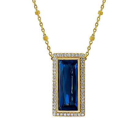 S Collection London Blue Topaz and Diamond Pendant in 14K Yellow Gold