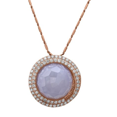 S Collection Blue Chalcedony and Diamond Pendant in 14K Rose Gold