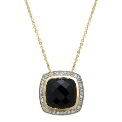 S Collection 7.2 CT. T.W. Black Onyx Pendant in 14K Yellow Gold