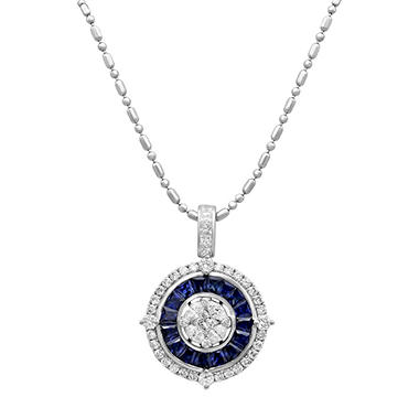 S Collection Blue Sapphire and Diamond Art Deco Pendant in 14K White Gold