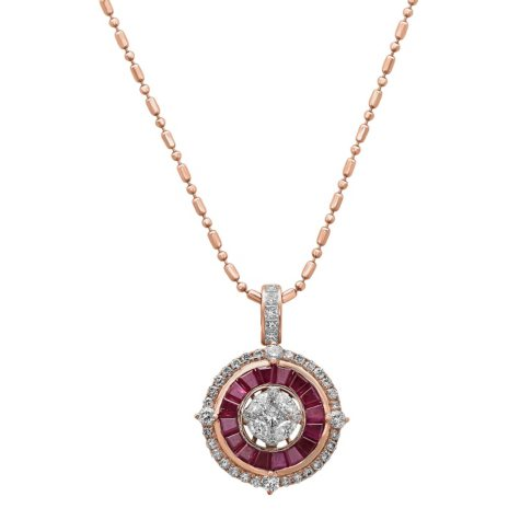 S Collection Ruby and Diamond Art Deco Pendant in 14K Rose Gold