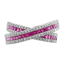 S Collection Ruby and Diamond Criss Cross Ring in 14K White Gold