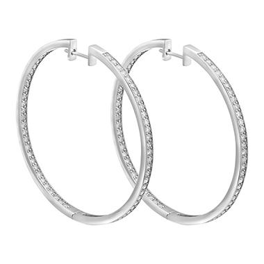 S Collection 2 50 Ct T W Diamond Hoop Earrings In 14k White Gold