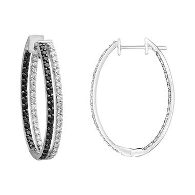 S Collection 2 Ct T W Double Hoop Black And White Diamond Earrings