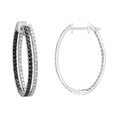 S Collection 2 CT. T.W. Double Hoop Black and White Diamond Earrings in 14K White Gold