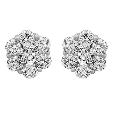 S Collection 1.0 CT. T.W. Diamond Flower Stud Earrings in 14K White Gold