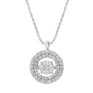 S Collection 1 CT. T.W. Double-Halo Pendant in 14K White Gold