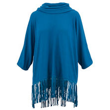Terre Blue Hacci Fringe Cowl Neck Sweater