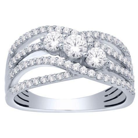 1 CT. T.W. Unique 3-Stone Diamond Ring in 14K Gold (I, I1)