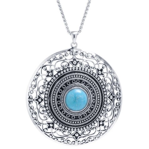 Sterling Silver and Turquoise Medallion Pendant