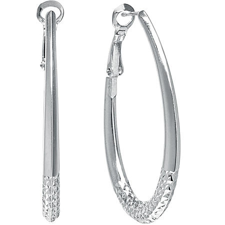 Sterling Silver Diamond Cut Oval Hoops