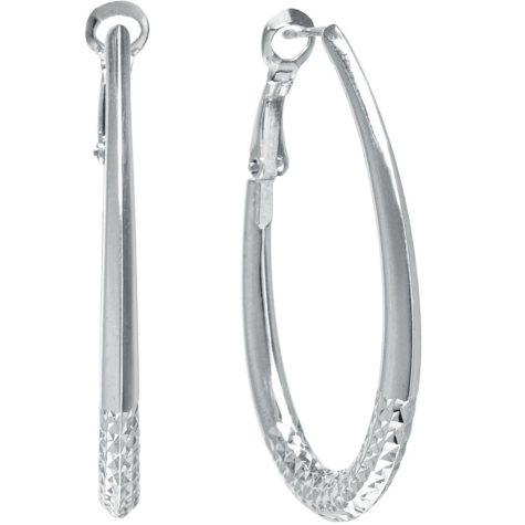 Sterling Silver Diamond Cut Oval Hoops