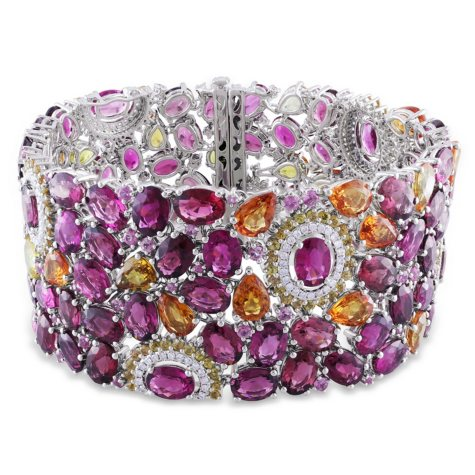 Allura 94.66 CT. Multi Color Tourmaline and Sapphire with 1.03 CT. Diamond Mosaic Bracelet in 14K White Gold