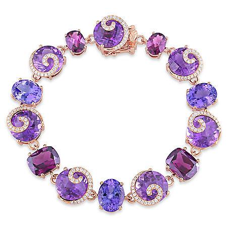 Allura 41.59 CT. Amethyst, Rhodolite and Purple Tanzanite with 0.73 CT. Diamond Link Bracelet in 14K Rose Gold