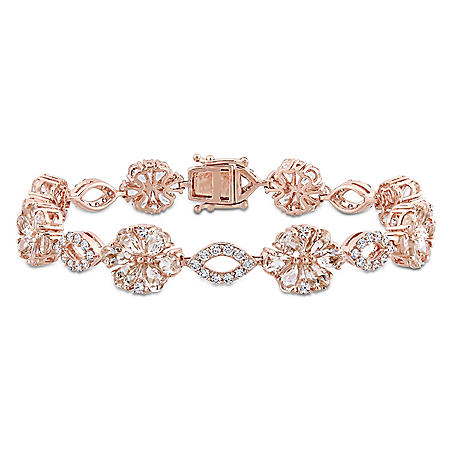Allura 12.48 CT. Morganite and White Sapphire with 1.26 CT. Diamond Floral Link Bracelet in 14K Rose Gold