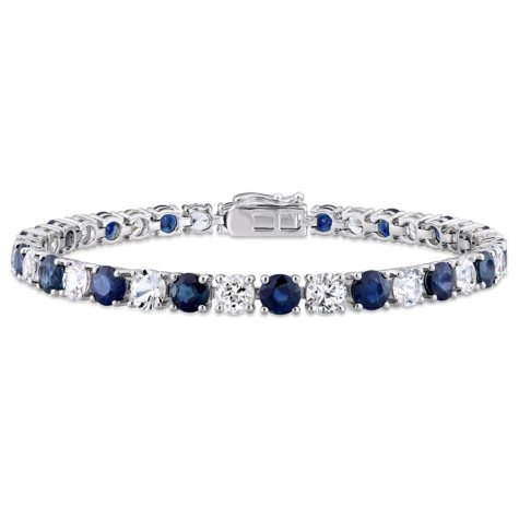 Allura 16.2 CT. Blue and White Sapphire Tennis Bracelet in 14K White Gold