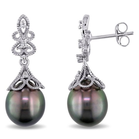 9-9.5 mm Black Drop Tahitian Pearl with Diamond-Accent Dangle Earrings in 14K White Gold