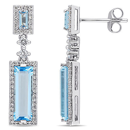 4.2 CT. Blue Topaz and 0.31 CT. Diamond Drop Halo Earrings in 14K White Gold