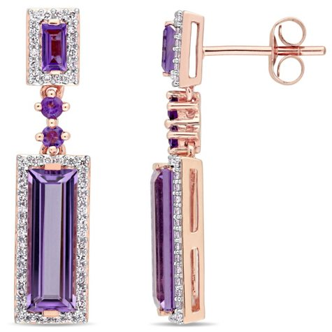 3.37 CT. Amethyst and 0.31 CT. Diamond Drop Halo Earrings in 14K Rose Gold