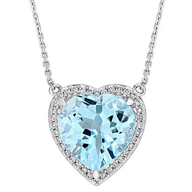 6 85 Ct Blue Topaz And 0 18 Diamond Halo Heart Necklace In 14k White