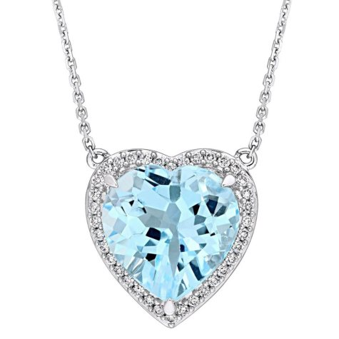 6.85 CT. Blue Topaz and 0.18 CT. Diamond Halo Heart Necklace in 14K White Gold
