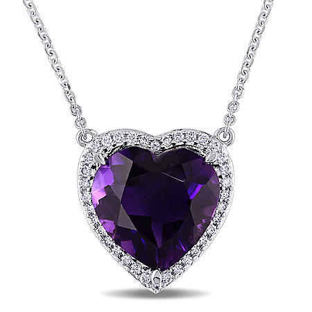 5.35 CT. Amethyst and 0.18 CT. Diamond Halo Heart Necklace in 14K White Gold