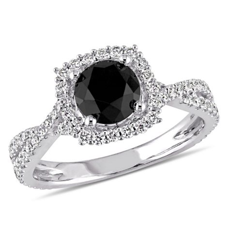 1.50 CT. T.W. Black and White Diamond Halo Engagement Ring in 14K White Gold
