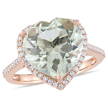 4.60 CT Green Amethyst and 0.28 CT Diamond Halo Heart Cocktail Ring in 14k Rose Gold