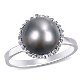 9-9.5 MM Black Round Tahitian Pearl and 0.25 CT Diamond Halo Vintage Ring in 14k White Gold